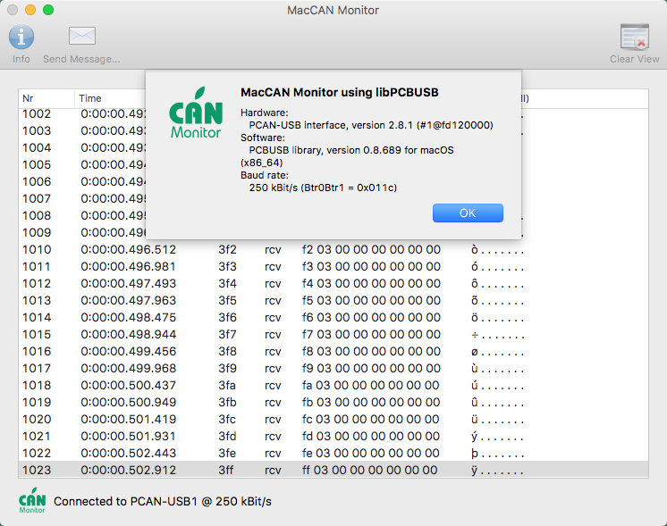 CAN Monitor App for OS X